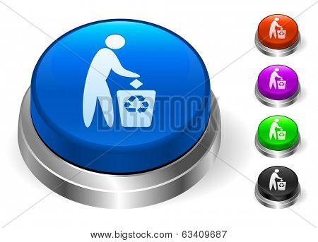 Trash Recycle Icons on Round Button Collection