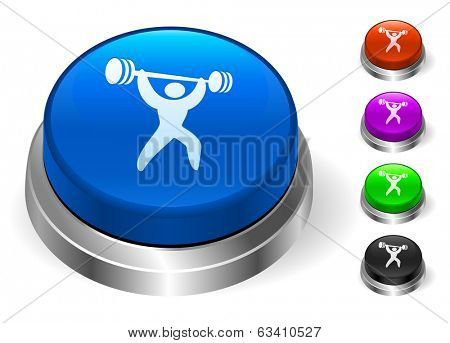 Weight Lifting Icons on Round Button Collection