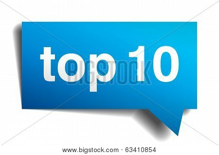 Top10 Blue 3D Realistic Paper Speech Bubble Isolated On White