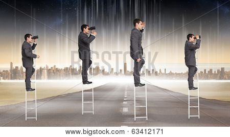 Multiple image of businessman on ladder against cityscape on the horizon