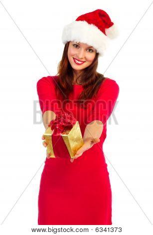 Santa Woman With Christmas Present