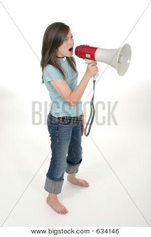 Young Girl Shouting Through Megaphone 3