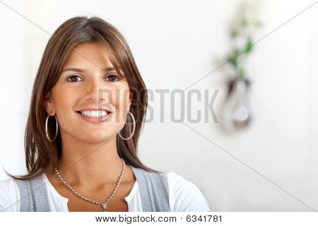 Woman At Home Smiling