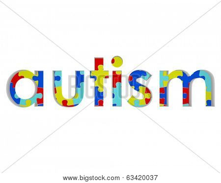Autism Word Puzzle Pieces Background Hope Research