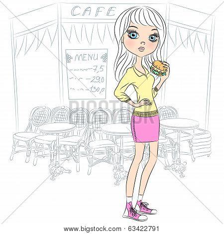 Vector Beautiful Fashion Girl With Popcorn