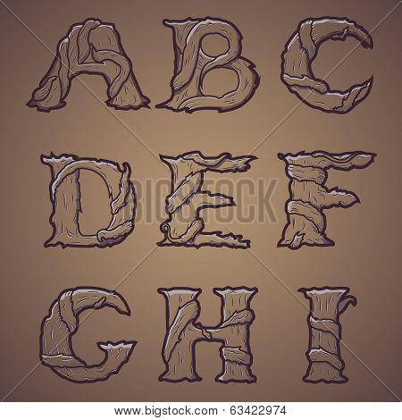 Halloween decorative alphabet - Tree & roots letters, font.