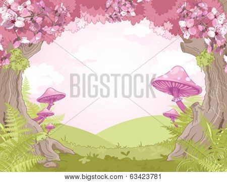 Fantasy landscape with mushrooms and trees