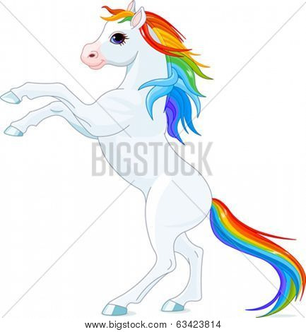Rainbow mane and tail horse, reared up