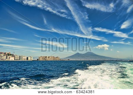 Mount Vesuvius And Castle From A Boat
