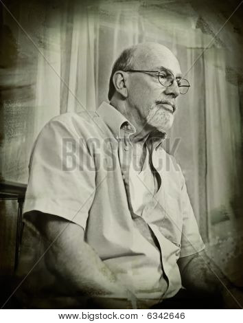 Senior Man Thinking / vintage-style Portrait