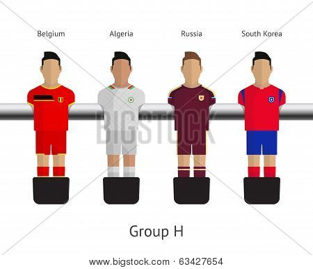 Table football, soccer players. Group H - Belgium, Algeria, Russia, South Korea