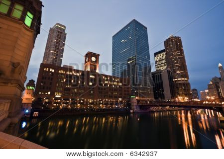 Evening By Chicago River