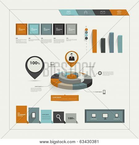 Set of flat infographic elements. Business collection of graphs, diagrams, speech bubbles, folder an