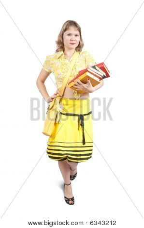 Girl With Books And Bag Over White
