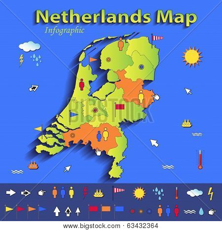 Netherlands Holland map infographic political map blue green card paper 3D vector individual states