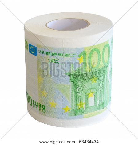 Toilet Paper Roll Of 100 Euro Bank Notesl Isolate