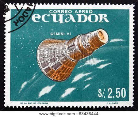 Postage Stamp Ecuador 1966 Gemini 6, Manned Spaceflight