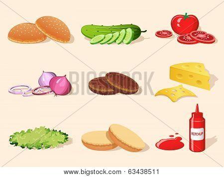 Hamburger element set