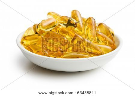 Cod liver oil. Gel capsules on white background