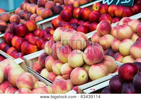 Nectarines and peaches in  healthy concept