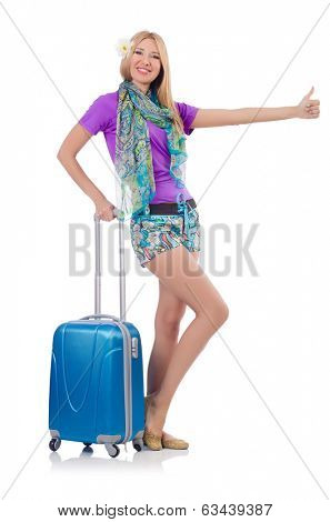 Woman preparing for vacation with suitcase isolated  on white