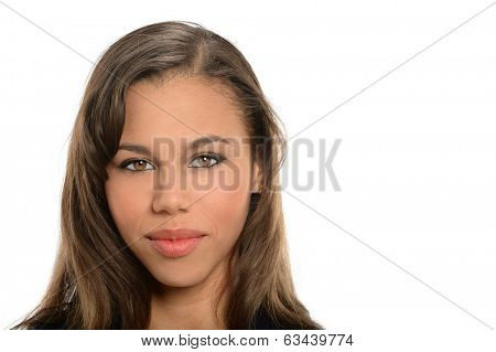 Portrait if young African American businesswoman isolated over white background