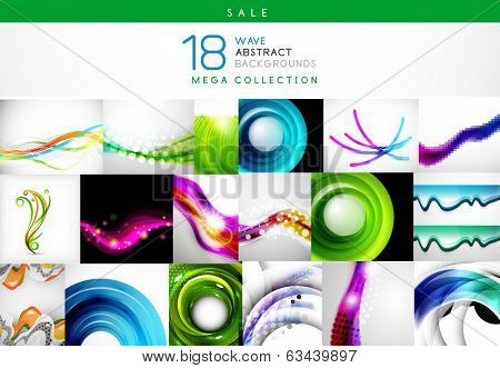 Mega sale - collection of wave backgrounds. 18 design templates