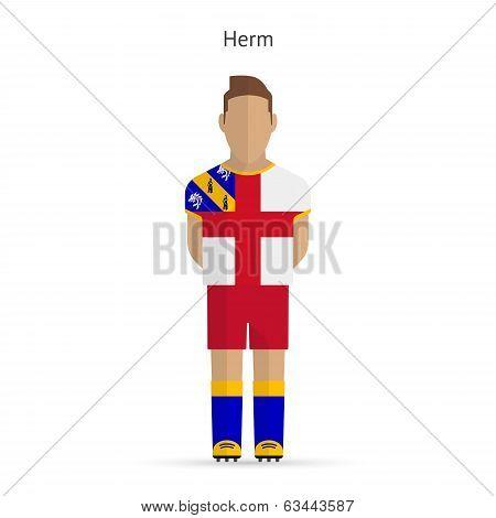 Herm football player. Soccer uniform.