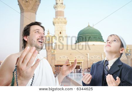 People On Holy Islamic Duty In Madina, Saudi Arabia