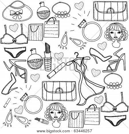 set of trendy fashion illustration