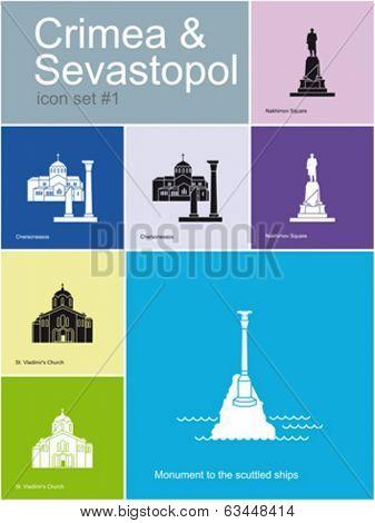 Landmarks of Crimea & Sevastopol. Set of flat color icons in Metro style. Editable vector illustration.