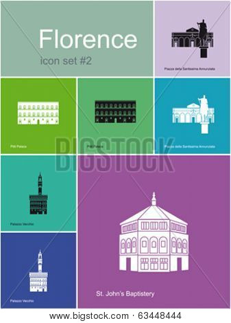 Landmarks of Florence. Set of flat color icons in Metro style. Editable vector illustration.