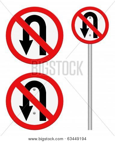 No U-turn Road Sign Isolate On White Background