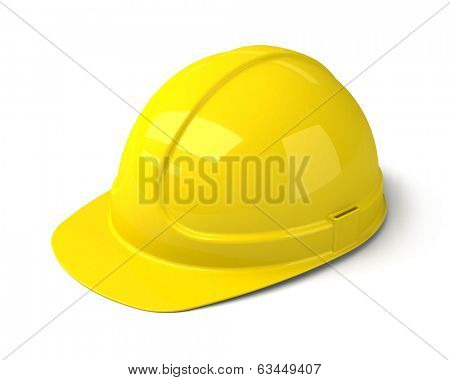 Yellow Safety Helmet on the White Background. Construction Hard Hat Icon.