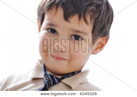 Very Positive Little Cute Kid, Closeup Photo