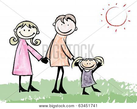 Father, Mother, Daughter And Cat Cartoon Illustration