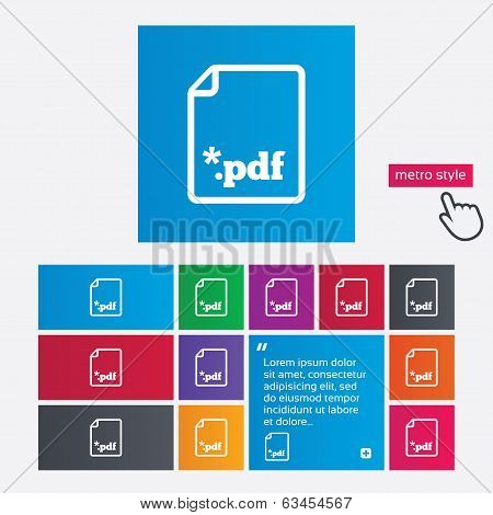 PDF file document icon. Download pdf button.