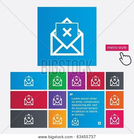 Mail delete icon. Envelope symbol. Message sign