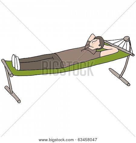 An image of a man laying in a hammock.