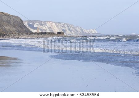 Rough See And White Waves At Folkestone Beach Looking Out To Dover