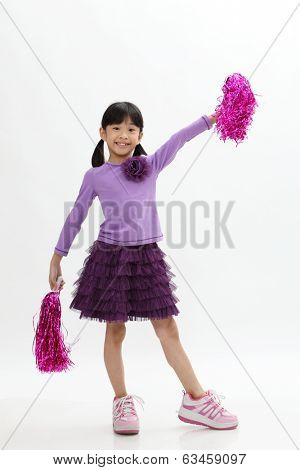 chinese girl holding pom pom