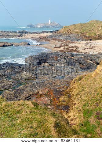 Godrevy Cornwall coast England UK facing the Atlantic Ocean and po
