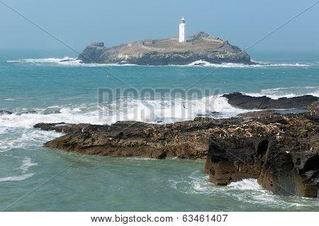 Godrevy lighthouse and island St Ives Bay Cornwall coast England UK