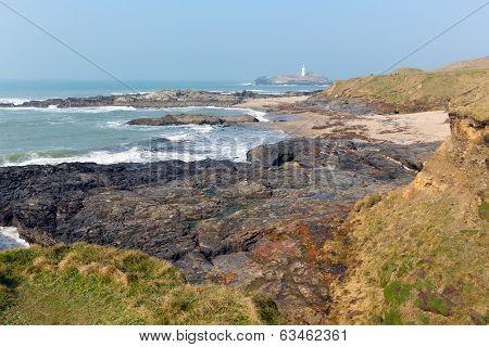 Coast at Godrevy St Ives Bay Cornwall coast England UK