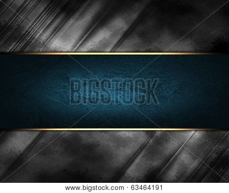 Design Template. Grunge Metal Texture With Blue Sign