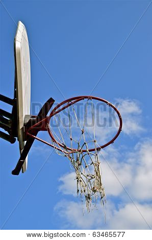 Tattered Net,  Backboard, and Hoop