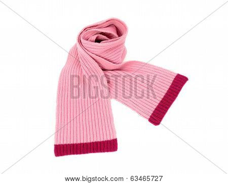 Cute pink winter scarf nicely arranged.