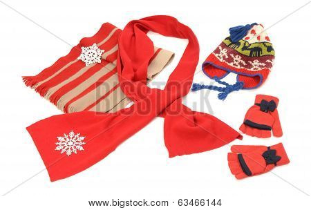 Red winter accessories nicely arranged.