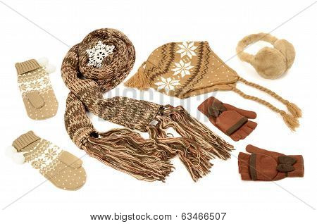 Brown winter accessories isolated on white background.