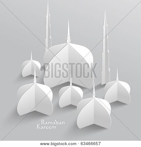 Vector 3D Mosque Paper Sculpture. Translation: Ramadan Kareem -